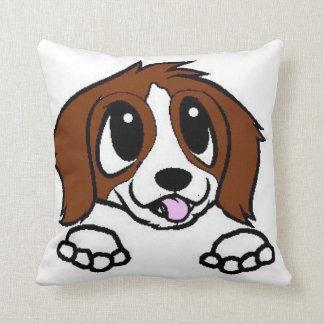 st bernard cartoon peeking rust white throw pillow