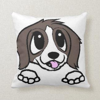st bernard cartoon peeking throw pillow