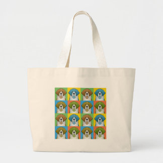 St. Bernard Cartoon Pop-Art Large Tote Bag