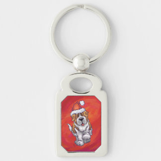 St. Bernard Christmas On Red Silver-Colored Rectangle Keychain
