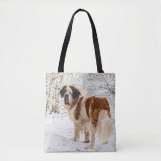 St Bernard dog in the snow bag
