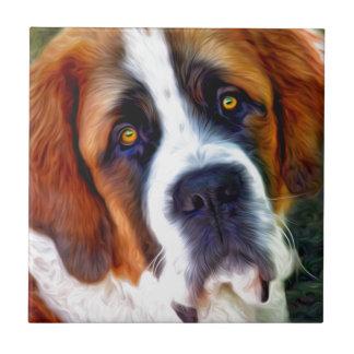 St Bernard Dog Painting Tile