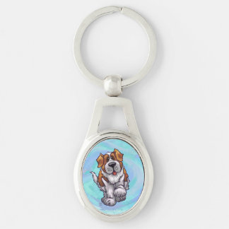 St. Bernard Gifts & Accessories Silver-Colored Oval Metal Keychain