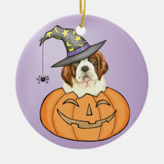 St. Bernard Halloween Round Ceramic Ornament