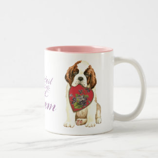 St. Bernard Heart Mom Two-Tone Coffee Mug
