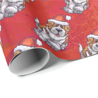 St. Bernard in Hat Pattern On Red Wrapping Paper