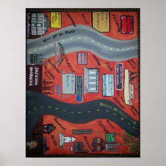 """St. Bernard LA """"Up da road"""" & """"Down da road"""" Poster"""