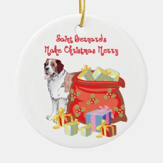 St Bernard Merry Christmas Round Ceramic Ornament