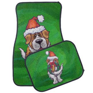 St Bernard mignon dans le chapeau de Père Noël sur Tapis De Sol