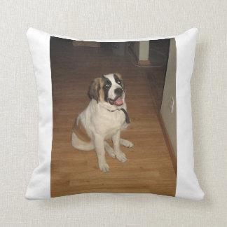 st bernard sitting throw pillow