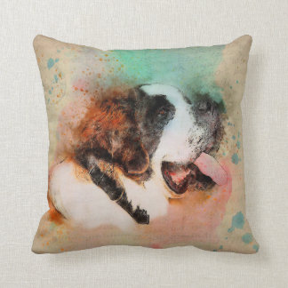 "ST. BERNARD WATERCOLOUR COTTON PILLOW 16""x16"""