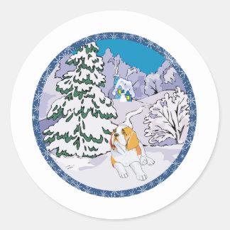 st bernard winter classic round sticker