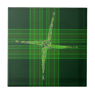 St. Bridgid' s Cross Green Tartan Tile