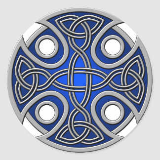 St. Brynach's Cross blue and grey Classic Round Sticker