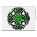 St. Brynach's Cross green and grey Greeting Card