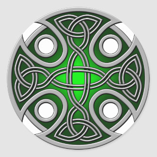 St. Brynach's Cross green and grey Round Sticker