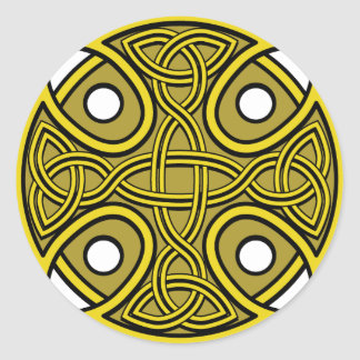 St. Brynach's Cross in Gold Round Sticker