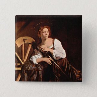 St. Catherine of Alexandria by Caravaggio 2 Inch Square Button