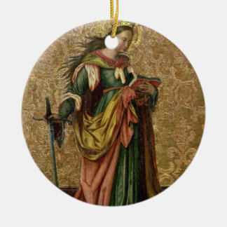 St. Catherine of Alexandria (oil on panel) 2 Round Ceramic Ornament