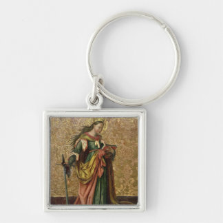 St. Catherine of Alexandria (oil on panel) 2 Silver-Colored Square Keychain
