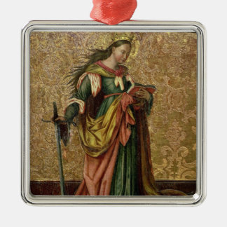 St. Catherine of Alexandria (oil on panel) 2 Silver-Colored Square Ornament