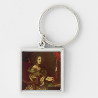 St. Cecilia 2 Silver-Colored Square Keychain