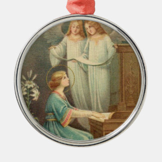 St. Cecilia Patroness of Musicians Metal Ornament