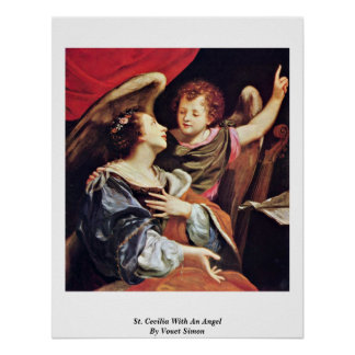 St. Cecilia With An Angel By Vouet Simon Poster