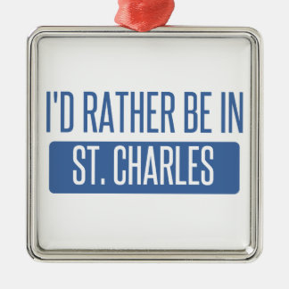 St. Charles Silver-Colored Square Ornament
