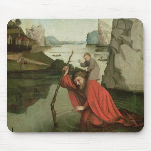 St. Christopher Carrying the Christ Child Mousepads