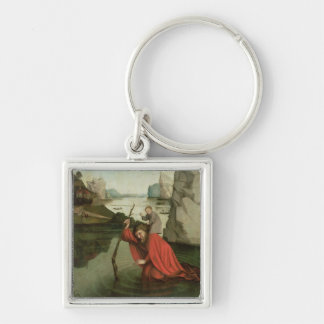 St. Christopher Carrying the Christ Child Silver-Colored Square Keychain