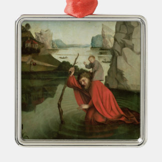 St. Christopher Carrying the Christ Child Silver-Colored Square Ornament