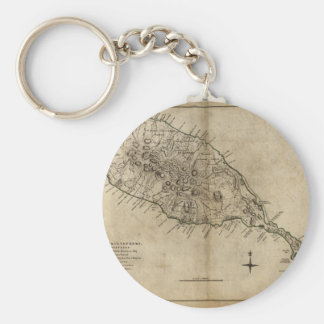 St. Christopher (St. Kitts), Caribbean Map Basic Round Button Keychain