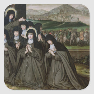St. Claire with her Sister, Agnes and Nuns Square Sticker