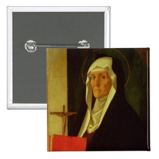 St. Clare, c.1485-90 (tempera on panel) Pinback Button