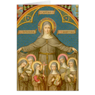 St. Clare of Assisi & Nuns (SAU 027) Greeting Card