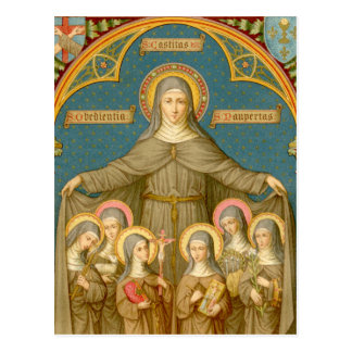 St. Clare of Assisi & Nuns (SAU 027b) Postcard 3