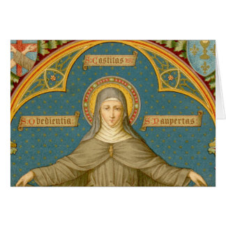 St. Clare of Assisi & Scrolls of Vows (SAU 027) Card