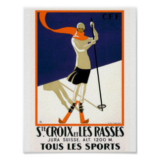St. Croix Switzerland Skiing Vintage Poster