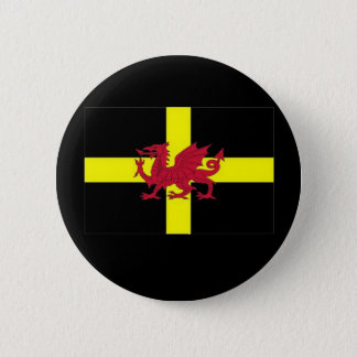St Davids Cross with Dragon 2 Inch Round Button