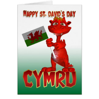 St. David's Day Card - Welsh Dragon Welsh Flag