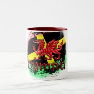 St. David's Day Mug, Grunge, St. David's, Dragon Two-Tone Coffee Mug