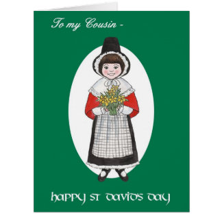 St David's Day, Welsh Costume, For Cousin Card