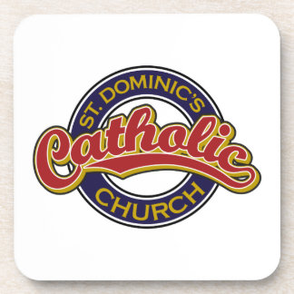 St. Dominic's Catholic Church Red on Blue Coasters