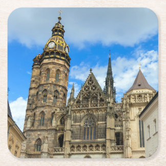 St. Elisabeth Cathedral in Kosice, Slovakia Square Paper Coaster