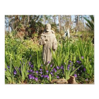 "St. Francis Among Pansies 4.25"" X 5.5"" Invitation Card"