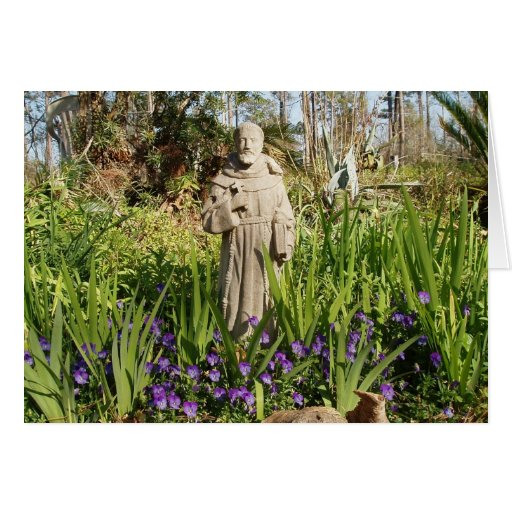St. Francis Among Pansies Greeting Card