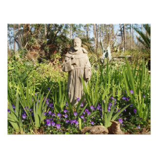 St. Francis Among Pansies Personalized Announcement