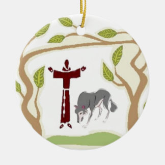 St. Francis and The Wolf tie, gift box, chain etc Ceramic Ornament