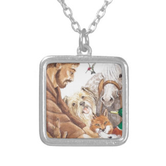 St. Francis & Animals, hat, pin, keychain, pet tag Silver Plated Necklace